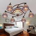 Тиффани-барокко Средиземноморский витражный подвесной светильник E27 110-240 В цепочка подвесные светильники для дома гостиная столовая