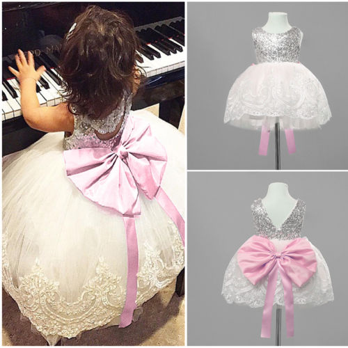 Fashion Toddler Kids Girls Lace Tutu Wedding Party Bridesmaid Pageant Formal Dress Pink Bowknot Sequin Dress Vestidos 0-10T