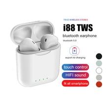 лучшая цена Bluetooth Earphones i88 Tws Wireless Stereo Earbud Earphone for iPhone 7 8 X XS Android Samsung Earphones with Charging Box Mic