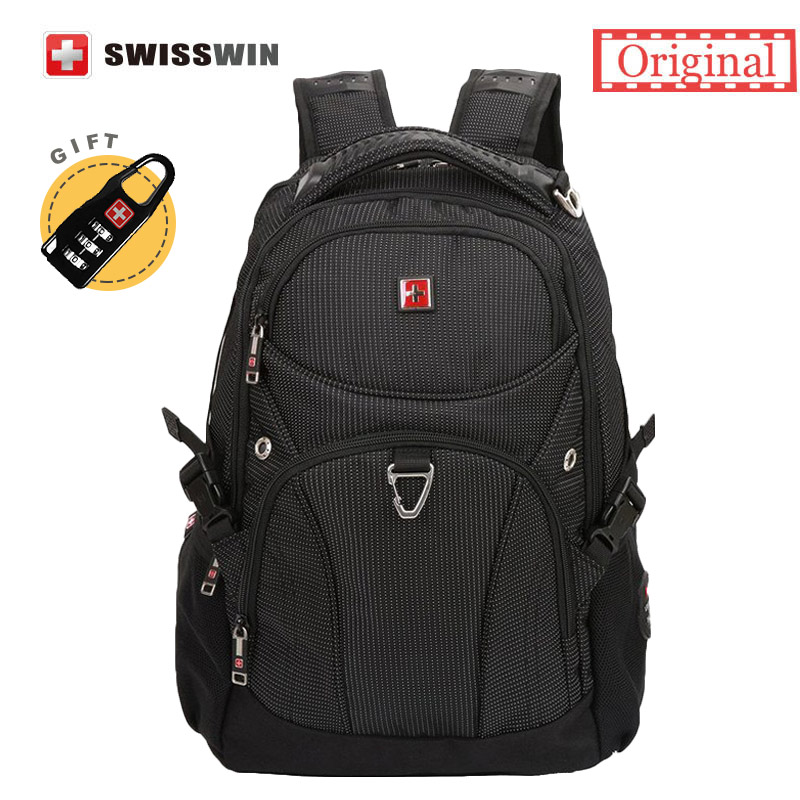 Swisswin Backpack Male Brand Laptop Backpack Men's Baclpack 28L Travel Bags Men Rucksack Black Bagpack Mochila Swiss Bag Pack