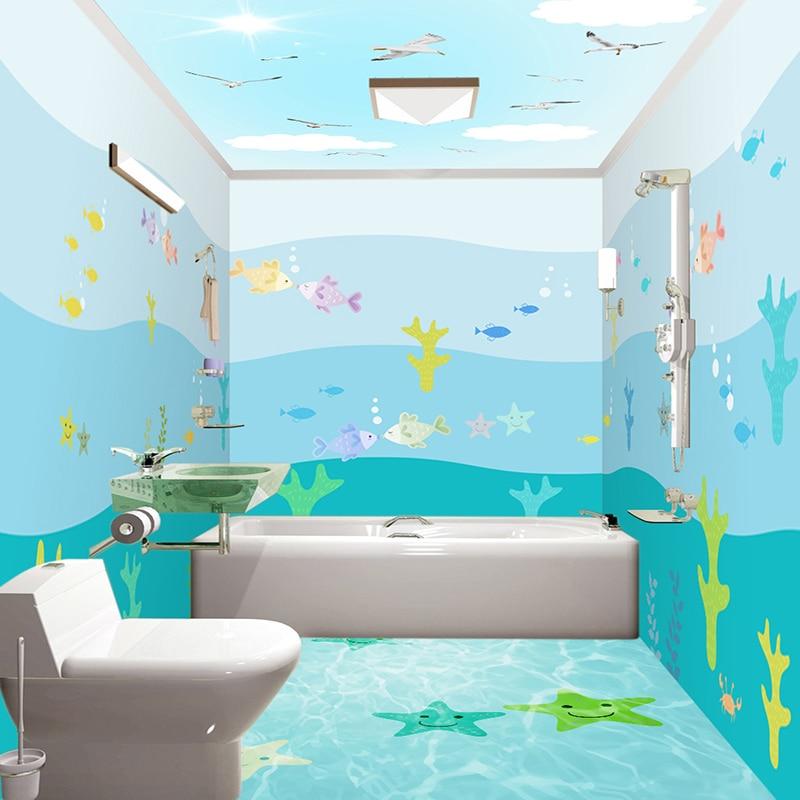 3D Cartoon Sea View Fish Mural Wallpaper Bathroom PVC Self