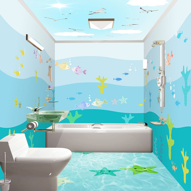 3D Cartoon Sea View Fish Mural Wallpaper Bathroom PVC Self Adhesive Waterproof Background Wall Sticker