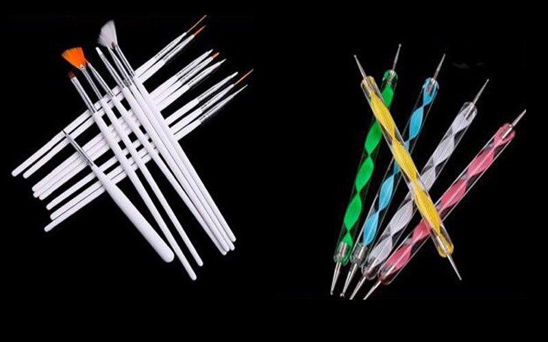 20Pcs Nail Art Kit DottingTool  15Pcs Nail Art Design Painting Drawing Brushes White+5 X 2 Way Marbleizing Dotting Pen Tools Set