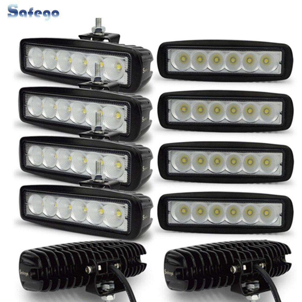 10pcs 6 LED offroad truck trailer 18W working lights lamp worklight driving fog headlights 12V 24V