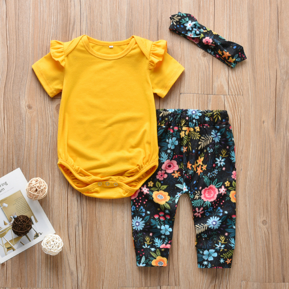 3Pcs Infant Toddler Baby Girl Clothes Ruffle Short Sleeve Romper+Floral Skirt+Headband Outfits