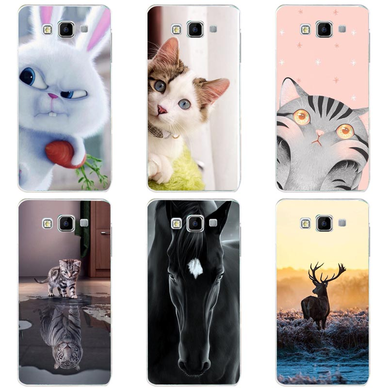 Cute Animal Cat Printing Case For <font><b>Samsung</b></font> Galaxy A8 <font><b>A8000</b></font> 2015 Cover Relief Cartoon Funda Hard Phone Skin Coque image
