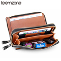 Men's Genuine Leather Glossy Furface Business Clutch Bag Handbag Wallet Checkbook Card Case Holder Organizer Bag NEW Brown S8287