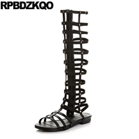 Long Summer Black Women Slingback Knee High Side Zip Boots Roman Gladiator Flat Fashion Shoes Rivet