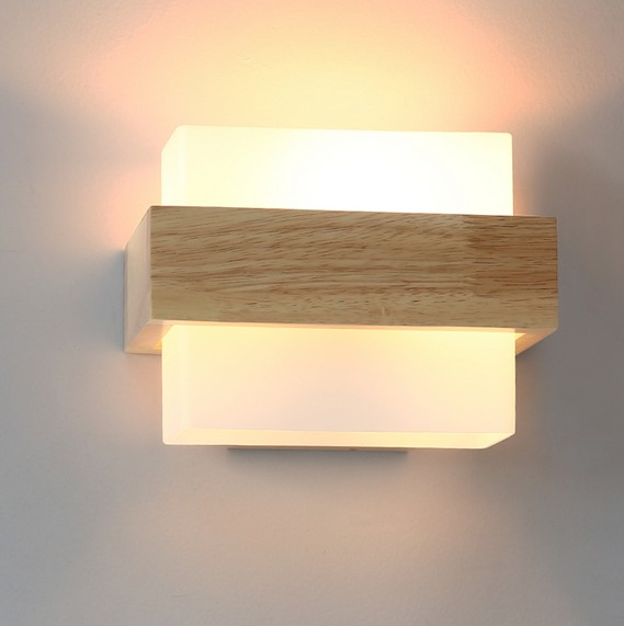 Contemporary Bedroom Wall Lights: Creative Wooden Glass Wall Sconce Simple Modern LED Wall