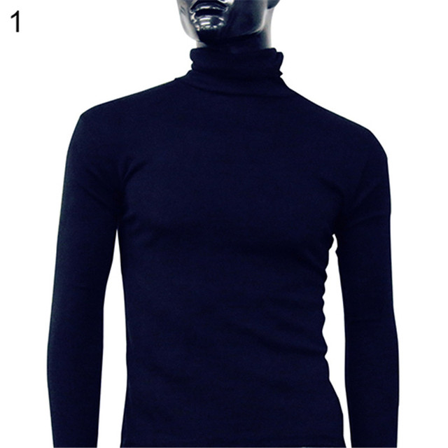 0b50ec65a2169 Mode Hommes Col Roulé D hiver Chaud Polo Col Solide Couleur Pull Mince  Chandail Jumper