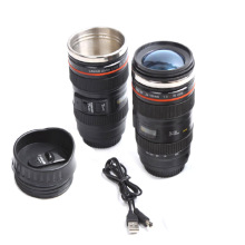 Creative Thermos Mugs Electric USB Mixing Cup Stainless Steel insulated Vacuum flasks Emulation Lens Camera Mug 450ML Thermoses