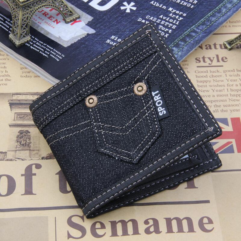 Fashion Black Denim Canves Wallet Men Coin Pocket Zipper Portfolio Handy Short Purse 3 F ...