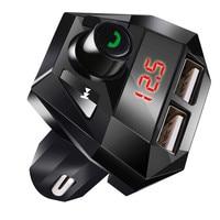 fm משדר Bluetooth גרסה 3.0 Hands לרכב חינם אלחוטי Bluetooth FM משדר מסך LED USB מטען נגן MP3 USB Chargesr # YL6 (4)
