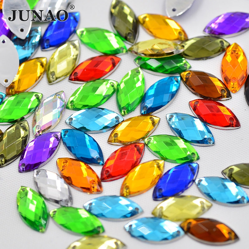 JUNAO 7x15mm Crystal AB Sew On Rhinestones Applique Flatback Gems Sewing Acrylic Strass Crystal Horse Eye AB Stones for Clothes