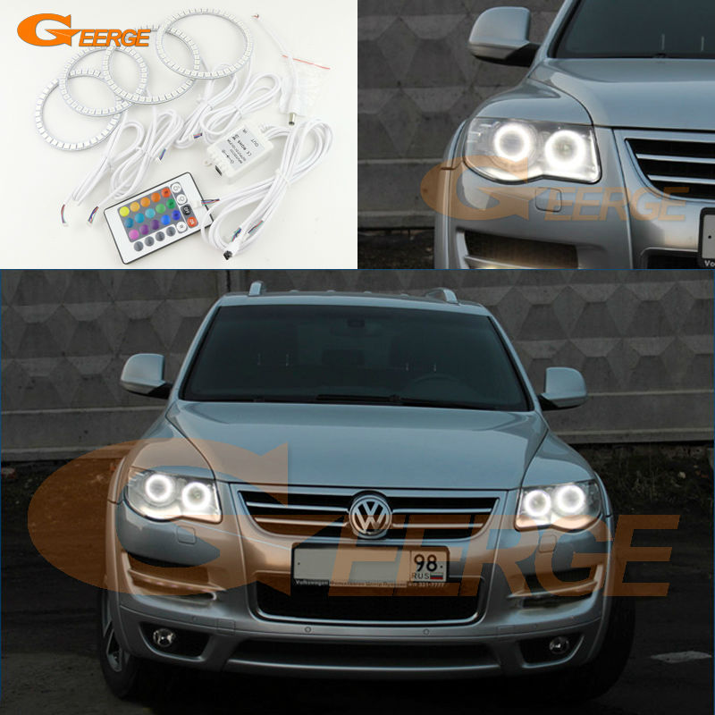For Volkswagen VW Touareg 2007 2008 2009 2010 Bi-Xenon headlight led Angel Eyes Multi-Color Ultra bright RGB LED Angel Eyes kit for vw for skoda octavia led headlamp angel eyes 2007 2009