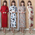 Retro Long Sleeve Autumn Winter Chinese Women Long Cheongsam Dress Linen Qipao Chinese Traditional Dress Party Wear