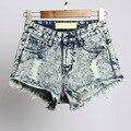 Verão Denim Shorts Mulheres Cintura Alta Shorts Jeans feminino Jeans Rasgados de Algodão Calças Curtas Mulher Plus Size 32-44 alta Qualidade