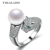 YIKALAISI 2017 new Fashion Pearl Jewelry Leopard Pearl Ring Natural Freshwater Pearl 925 Sterling Silver Jewelry For Women Gift