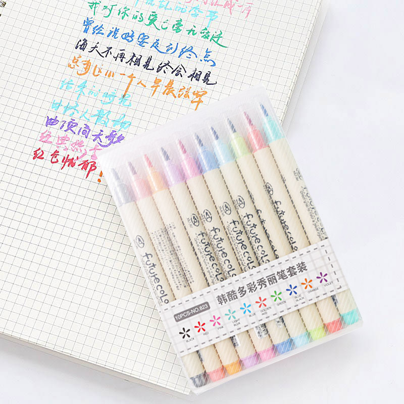 10pcs/lot Futurecolor Write Brush Pen Colored Marker Pens Set For Calligraphy Drawing Gift Korean Stationery Art Supplies