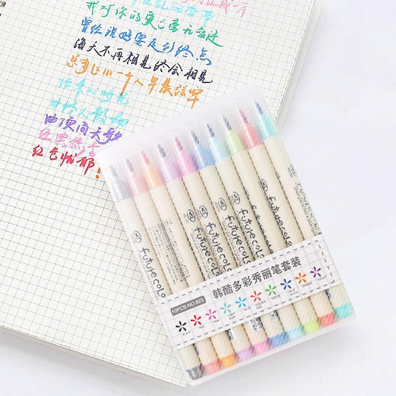 10 шт./лот Futurecolor написать Кисть ручка Цветной Маркеры Набор для каллиграфии рисунок подарок корейские канцелярские товары для рукоделия