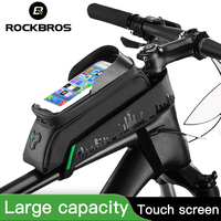 ROCKBROS Front Tube Phone Bicycle Bag Touch Screen Cycling Bike Bag Waterproof Frame Panniers For Bike Accessories