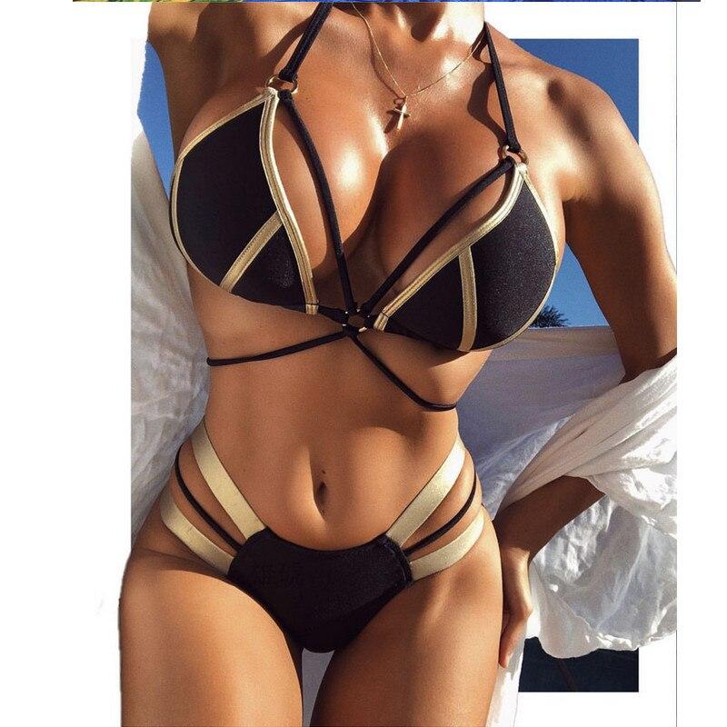2019 Hot Push Up Womens Bikini Set Halter Solid Color Beach Swimsuit Padded High Waist Bathing Suit Swimwear Beachwear