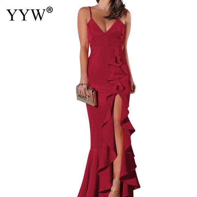 섹시한 V 넥 프릴 여성 이브닝 드레스 2020 여름 스파게티 스트랩 긴 파티 드레스 사이드 슬릿 불규칙한 우아한 공식 드레스