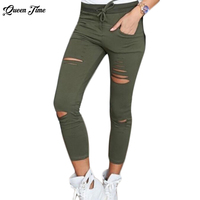 Women Casual Denim Skinny Cut Pencil Pants High Waist Stretch Jeans Trousers Cotton Drawstring Slim Leggings