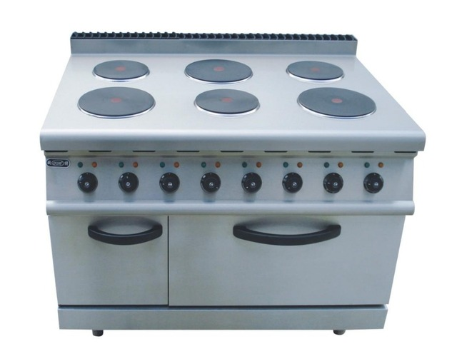 Eletric 6 hot plates stainless steel cooktop with cabinet bbq oven food cooking equipment free standing cooking tools