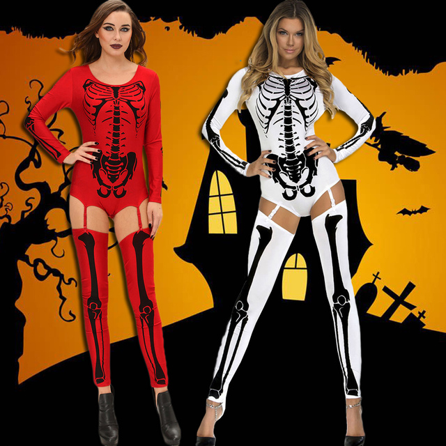 ad4c4de5c78c Sexy Costume Women Cosplay Costume Bodycon Jumpsuit Skull Print Role Play  Sexy Adult Playsuit Rompers Red White