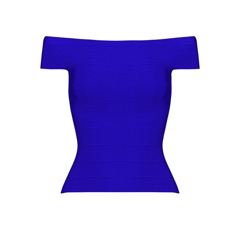 Летние сексуальные женские трикотажные колготки с вырезом лодочкой, бандажный Топ знаменитостей из вискозы, синий, черный, красный цвета - Цвет: Синий