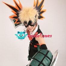 Bakugou Cosplay My Hero Academia Katsuki Bakugo Kacchan Cosplay kostüm Fullset kahraman takım elbise ile maske ve eldivenler