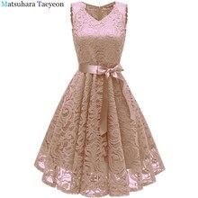 Lace Ever Pretty Elegant V Neck High Waist Tea Length Affordable Dresses For Women