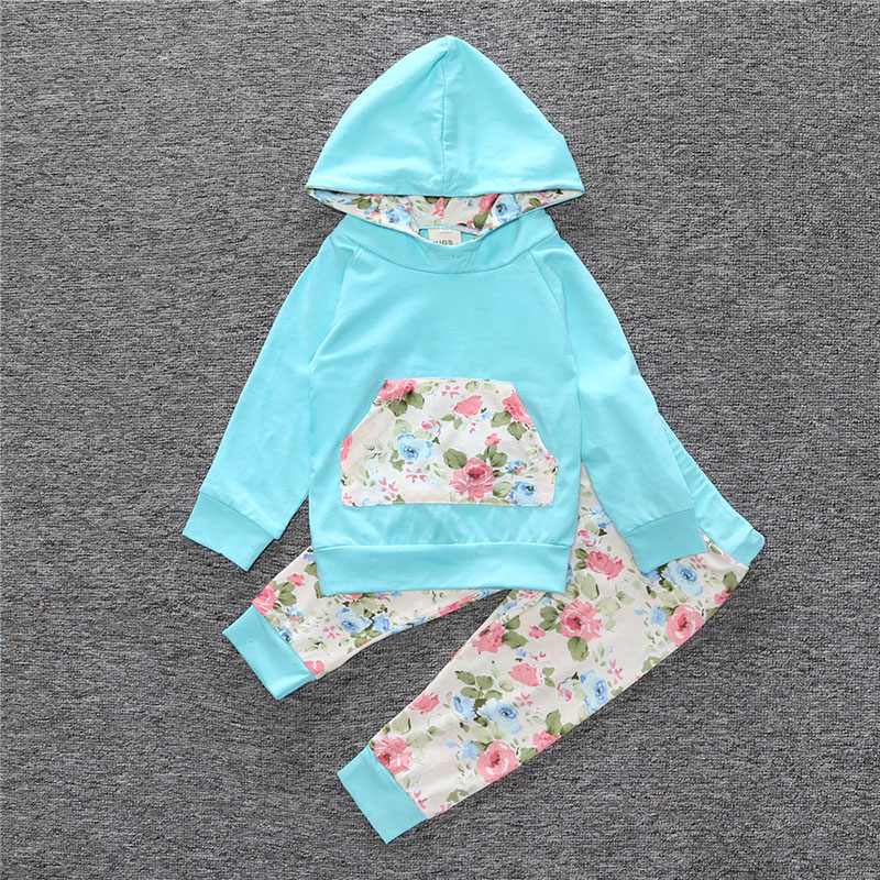 Autumn Baby Girls casual Hooded Sweat Shirt sport Tops+Floral Pants Outfits Set