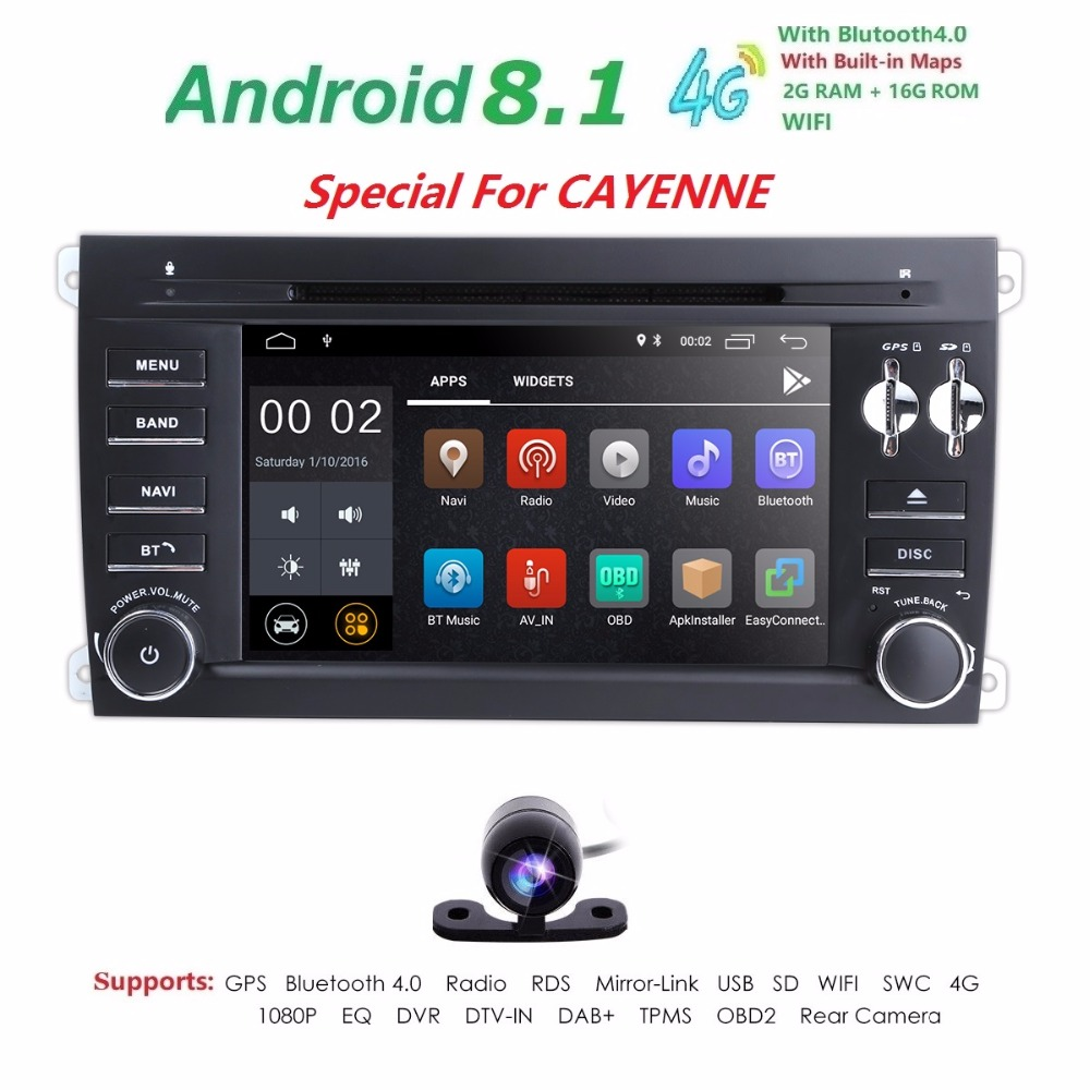 7 inch 2G RAM Car DVD Radio audio for Porsche Cayenne 2003 2010 car gps navigation Android 8.1 Quad core 7touch screen DAB TPMS