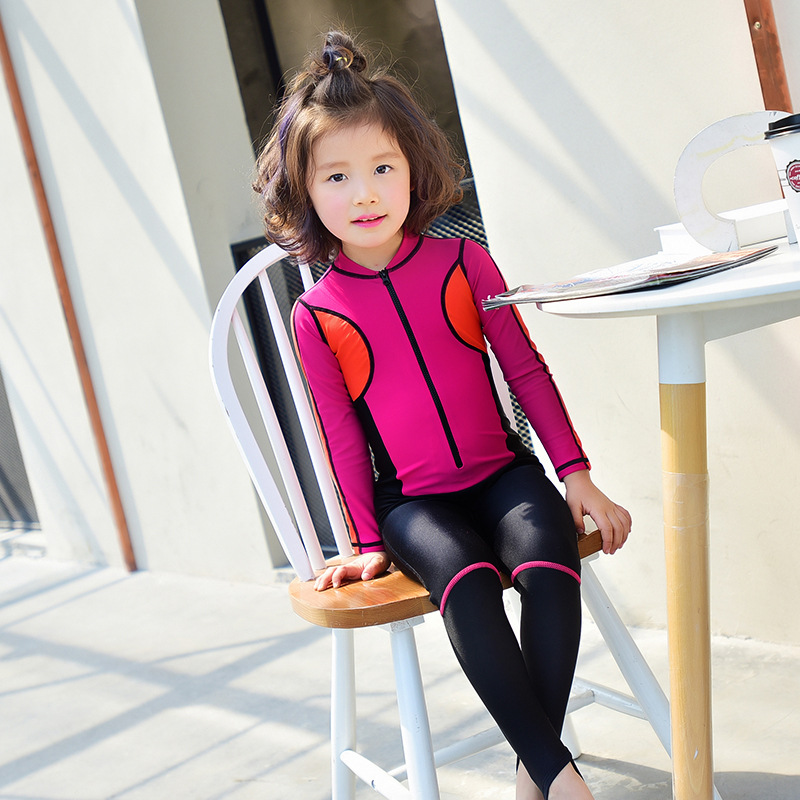BANFEI 2017 Wetsuit Kids Swimwear For Girls Swimsuit One Piece Long Sleeves Swimming Suit For Girls Bathing Suits One-piece