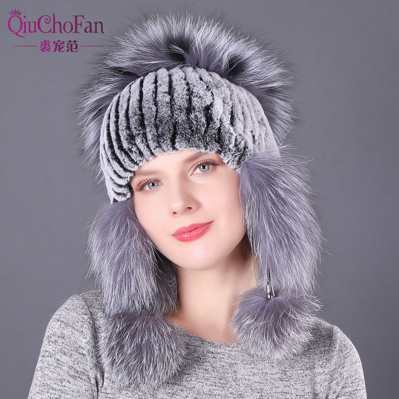 Winter Warm Real Rex Rabbit Fur Elastic Knitted Hats With Fox Fur Flower 2019 Real Fur Women's Beanies Hat With Ear Flaps