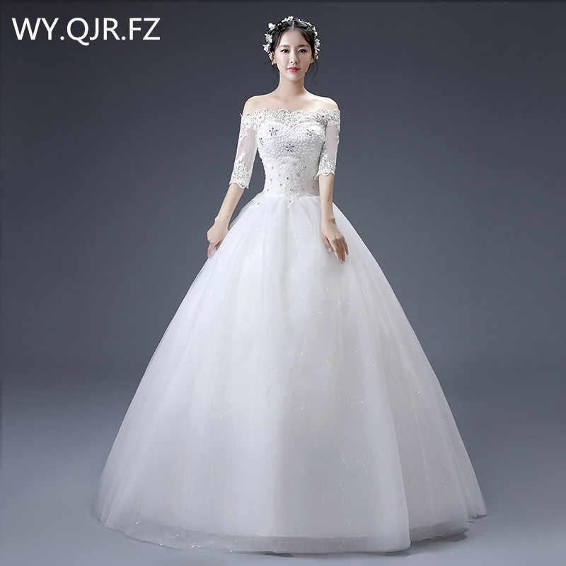 JYJY-17 # סירת צוואר סתיו החורף חדש תחרה עד לבן שמלות כלה 2019 בתוספת גודל שרף תרגיל שמלות מותאם אישית זול סיטונאי ילדה