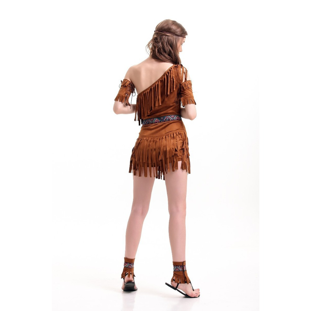 Pocahontas Indian Squaw Cowgirl Princess Fancy Dress Cleopatra Primordial Indigenous Tribe Halloween Costume For Women Girls in Movie TV costumes from Novelty Special Use
