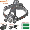 USB Rechargeable Headlight Waterproof 18650 led Camping Lamp XML RJ5000 T6 2R2 Lights by 18650 Battery  Usb Cable