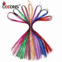 Leeons coloré Sparkel brillant effet droit synthétique cheveux Extension cheveux Tinsel cheveux tissage décoration or vert rose couleur