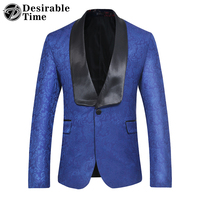 Desirable Time Mens White Embroidered Floral Blazer Casual Black Lapel Royal Blue Wedding Blazer Men DT172
