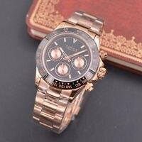 39 мм Парнис сапфировое стекло золотой Полный Дело кварцевый хронограф мужские часы