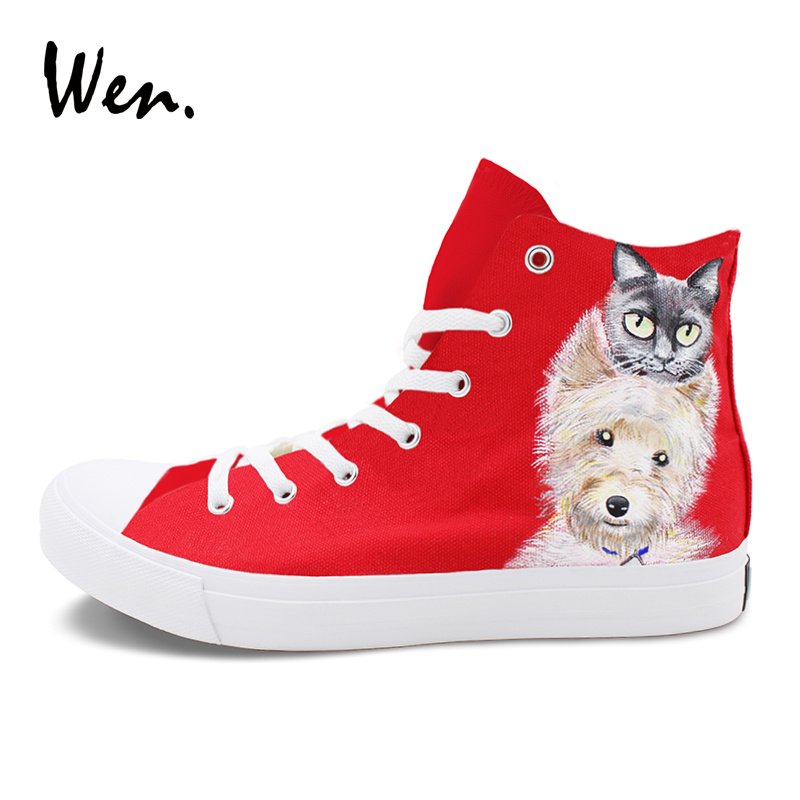 Wen Woman Canvas Shoes Red Painting Custom Design Dog Cat Hand Painted Shoes Man Sneakers High Top Lace up Gym Trainer Plimsolls red original converse all star men women shoes zombies walking dead custom design sneakers hand painted shoes man woman