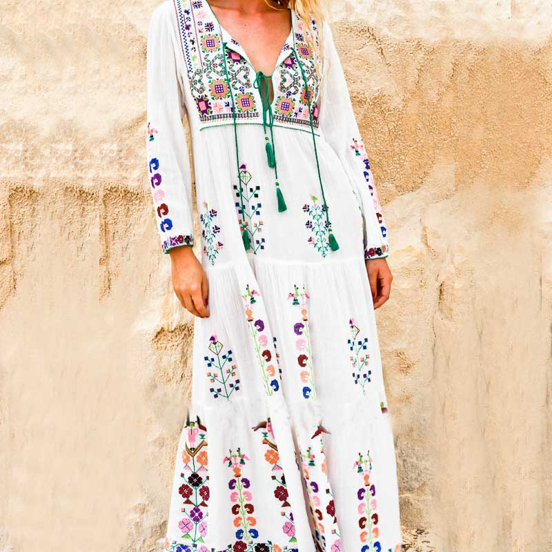 maxi dress floral embroidered long sleeve white dress vintage autumn winter tassel boho chic. Black Bedroom Furniture Sets. Home Design Ideas