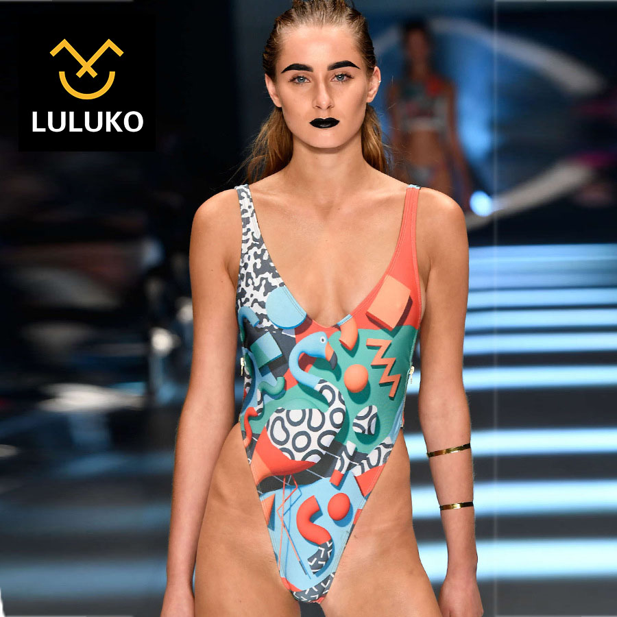 ФОТО LULUKO 2017 New Europe and The United States Sexy Bikini Swimsuit The Explosion of Digital Printed One-piece Swimsuit
