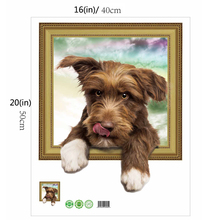 3D wallpaper simulation cute dog fake photo frame Wall stickers
