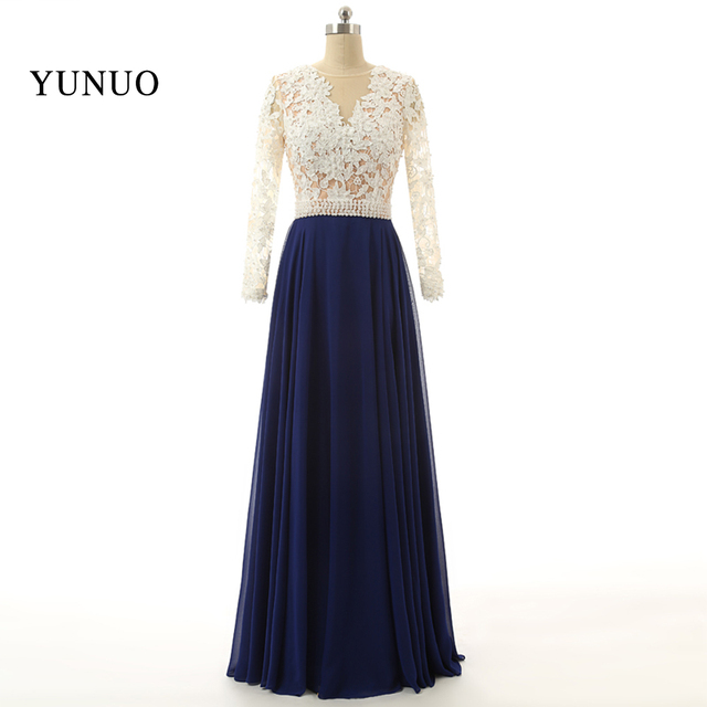 Blau Weiß Appliques Long Sleeves Abendkleid Lange Chifion Sexy Party ...