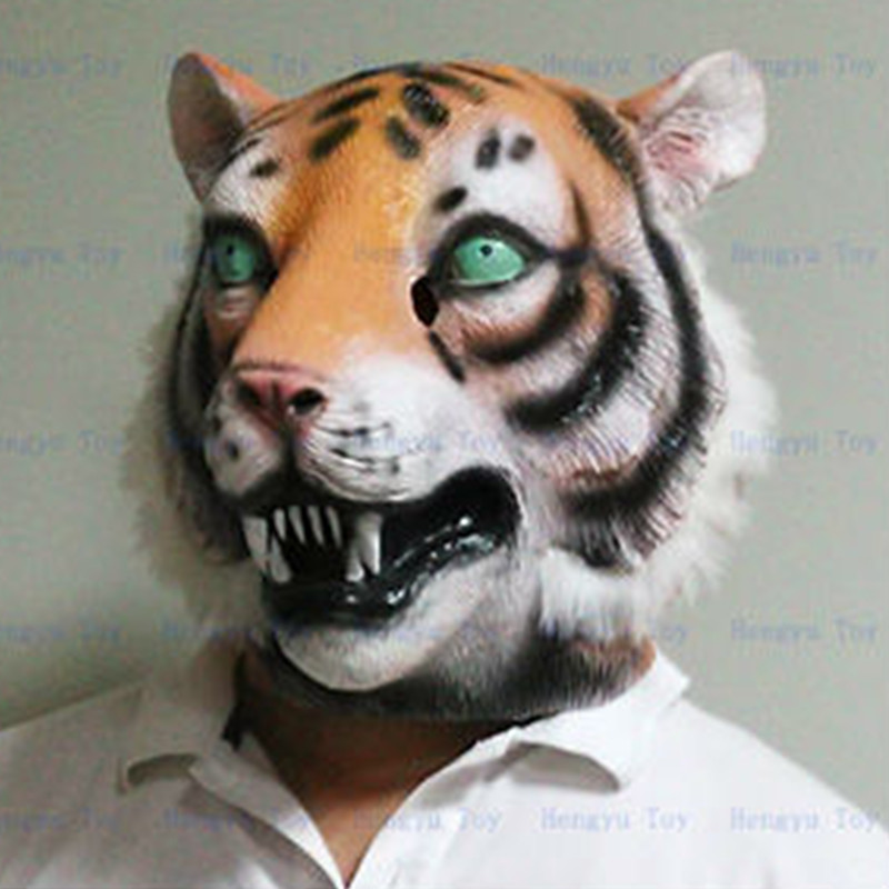 High Quality Animal Mask Halloween Party Latex Realistic Tiger Mask Full Head in Party Masks from Home Garden