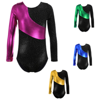 Long Sleeves Rainbow Stripes Starry Sky Dancing Athletic Leotard For Little Girl